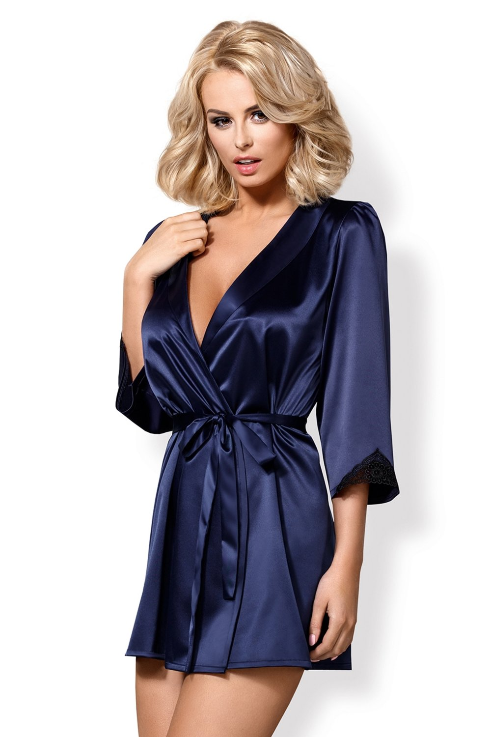 Halat sexy Satinia robe blue